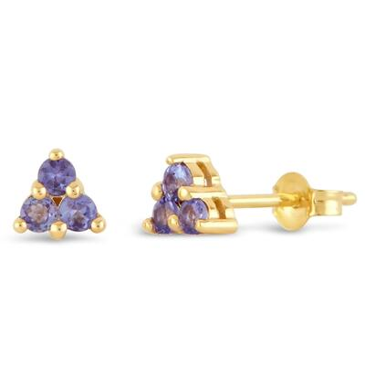 Gold Shuga Tanzanite Trillion Stud Earrings DINNY HALL