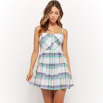 769f73fac1 Check Button-Front Cami Dress Forever 21