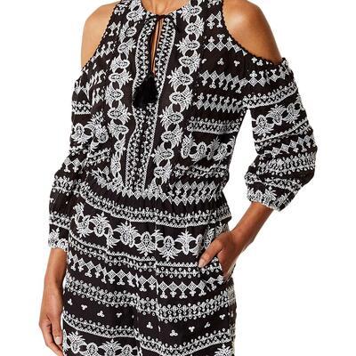 Karen Millen Embroidered Playsuit, Black