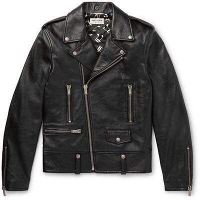SAINT LAURENT - Slim-Fit Textured-Leather Biker Jacket