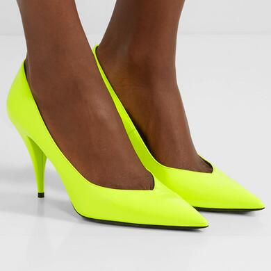 SAINT LAURENT Kiki neon patent-leather pumps