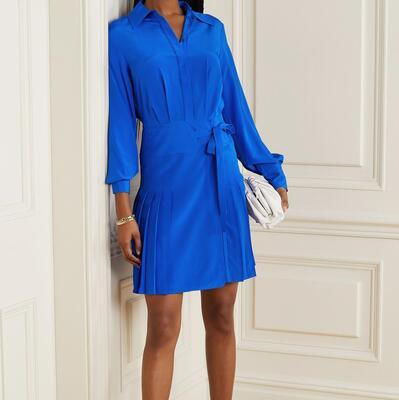 Bright blue Pleated silk crepe de chine mini shirt dress Jason Wu