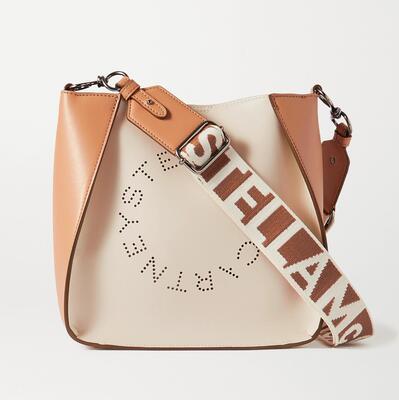 White Mini perforated two-tone vegetarian leather shoulder bag Stella McCartney
