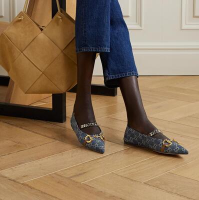 Dark denim + NET SUSTAIN Deva embellished logo-jacquard organic denim collapsible-heel point-toe flats Gucci