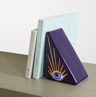 Navy + Lito porcelain, gold-plated and resin bookend LObjet