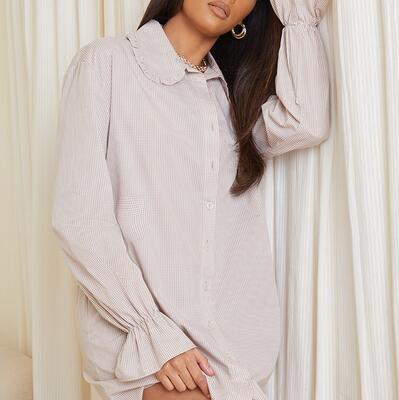 Stone Gingham Frill Collar Cuff Detail Shirt Dress PrettyLittleThing