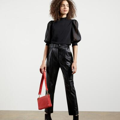 Faux leather belted trousers - Black- Ted Baker UK
