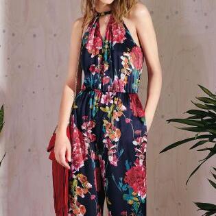 Karen Millen Fashion Floral Print Collection Jumpsuit