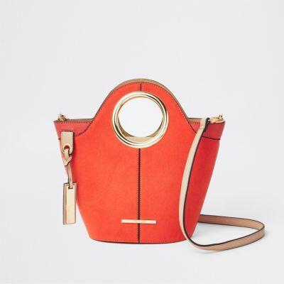 Bright red circle handle mini tote bag - women