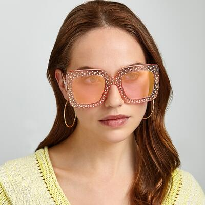 Gucci Pink embellished oversized sunglasses