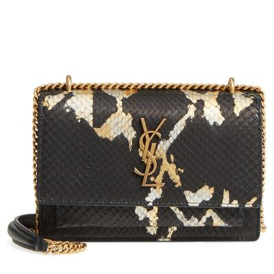 Saint Laurent Mini Sunset Painted Genuine Python Wallet on a Chain
