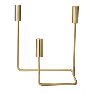 Verona Square Angle Triple Candlestick, Brass MADE.com