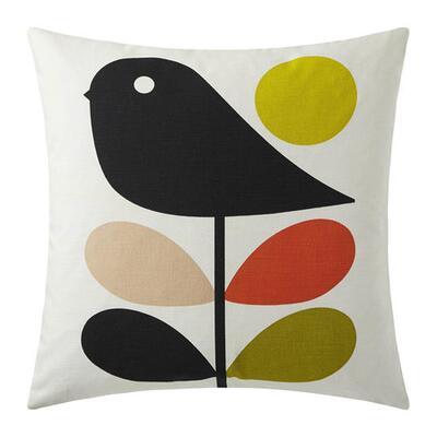 Orla Kiely Early Bird Reversible Cushion - 45x45cm - Pale Rose