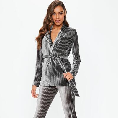 c97962448d8 Gray Velvet Glitter Stripe Tie Waist Blazer Missguided
