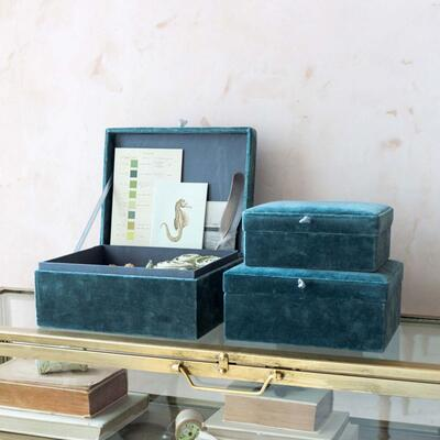 Set of Three Blue Velvet Boxes Graham & Green
