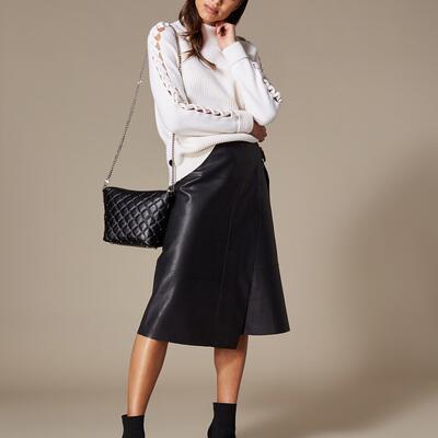 Faux-Leather Wrap Skirt Karen Millen