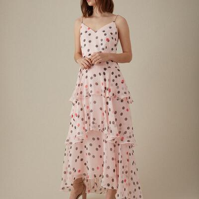Polkadot Tiered Maxi Dress Karen Millen