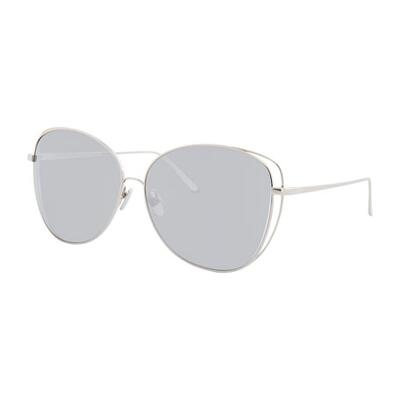Linda Farrow Open-Inset Mirrored Cat-Eye Sunglasses, White Gold