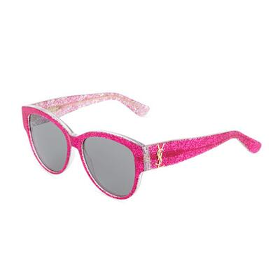 Saint Laurent Oversized Round Glittery Acetate Sunglasses