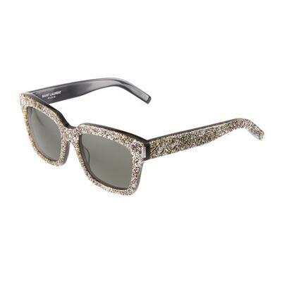 Saint Laurent Oversized Square Glittery Acetate Sunglasses