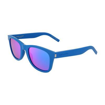 Saint Laurent Rainbow Square Injected Plastic Sunglasses w/ Mirrored Lenses