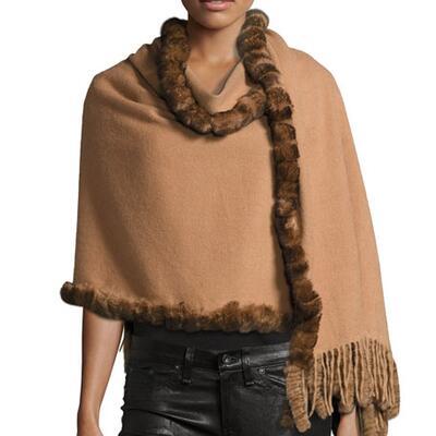 La Fiorentina Rabbit Fur-Trim Wool Wrap
