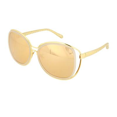 Linda Farrow Oversized Round Snakeskin/Acetate/Titanium Sunglasses