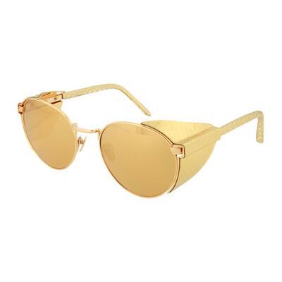 Linda Farrow Round Titanium/Snakeskin Sunglasses with Blinders
