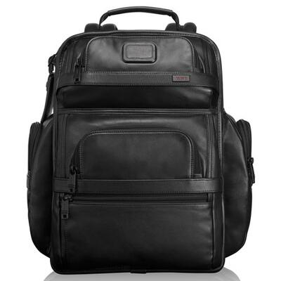 Tumi Alpha 2 Black Leather Business Class Brief Pack