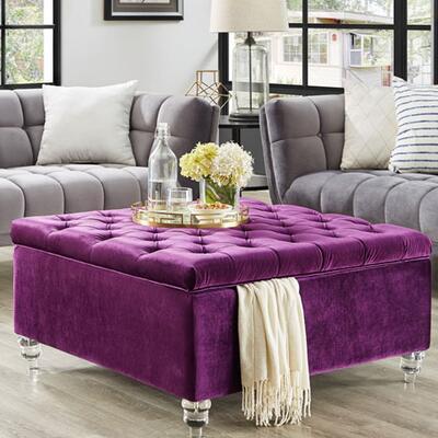 Inspired Home Oversized Tufted Velvet Storage Ottoman