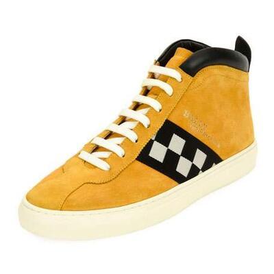 Bally Mens Vita Retro High-Top Sneakers, Yellow