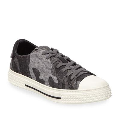 Valentino Garavani Mens Low-Top Camo Felt Sneakers