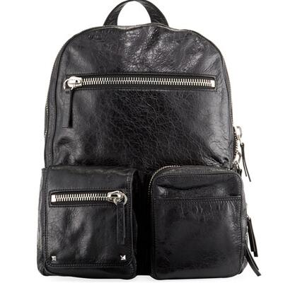 Valentino Mens Leather Dual Zip Backpack Bag
