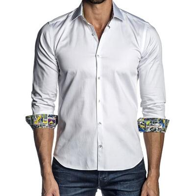 Jared Lang Mens Long-Sleeve Semi-Fit Sport Shirt, White