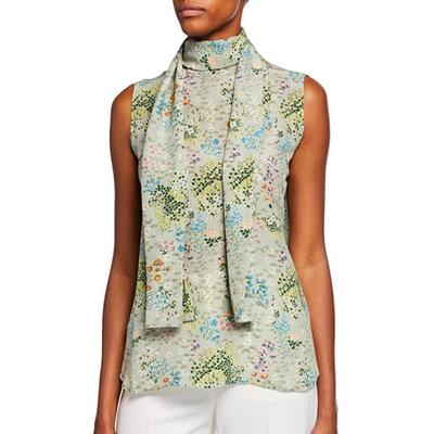 Valentino Camicie Silk Floral Scarf-Tie Blouse