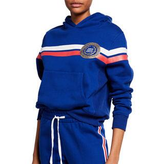 Kendall + Kylie Striped Pullover Hoodie with Chest Detail