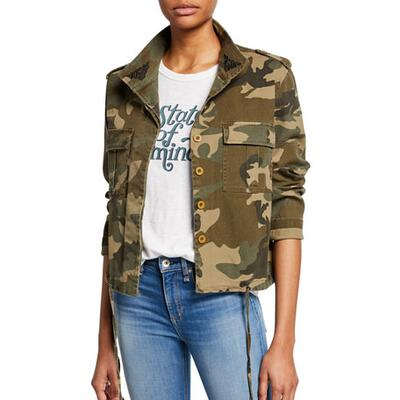 Kendall + Kylie Embroidered Button-Down Camo Jacket