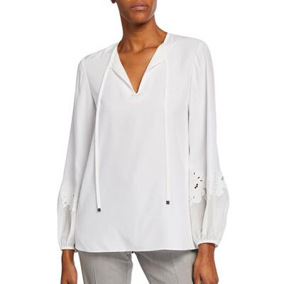 Lafayette 148 New York Eli Silk Blouse w/Lace-Inset Sleeves