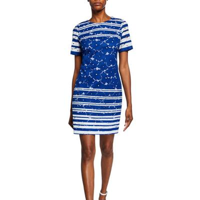 Maggy London Striped Floral Lace Sheath Dress