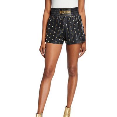 Moschino Leather Shorts w/Embellishments