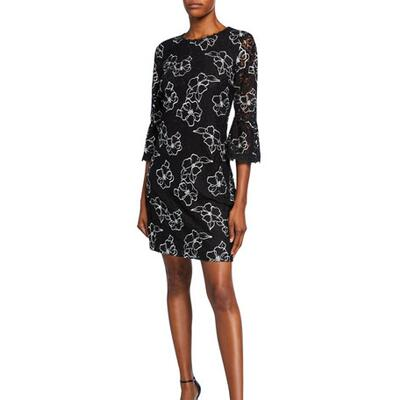 Karl Lagerfeld Paris Floral Bell-Sleeve Lace Sheath Dress