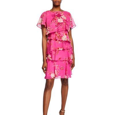 Tahari ASL Floral Short-Sleeve Multitiered Chiffon Dress