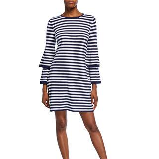 Sail to Sable Striped Tiered-Sleeve Sweater Dress