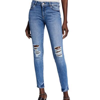 DL1961 Premium Denim Emma Destroyed Low-Rise Skinny Jeans