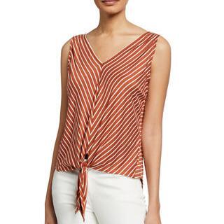 Max Studio Bias Striped Tie-Front Blouse