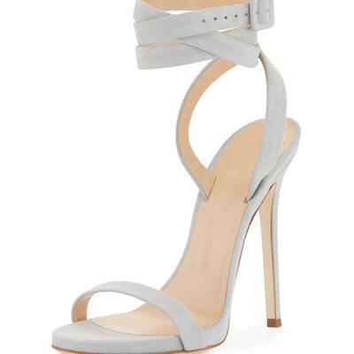 Giuseppe Zanotti for Jennifer Lopez Alien Suede Ankle-Wrap 120mm Sandal, Gray