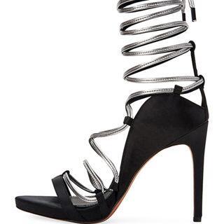 BCBGMAXAZRIA Esme Metallic Ankle-Wrap Satin Sandals