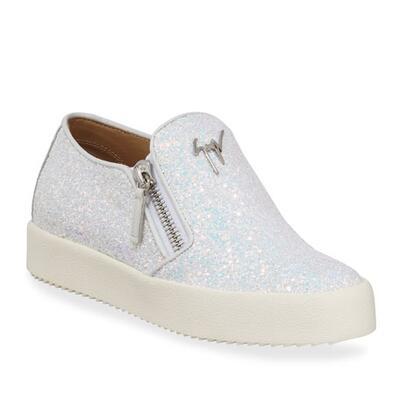 Giuseppe Zanotti Metallic Coarse Glitter Platform Sneakers