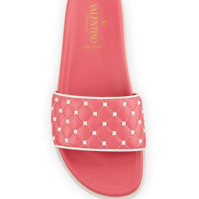 Valentino Garavani Rockstud Quilted Pool Slide Sandals
