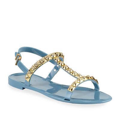 Stuart Weitzman Jelrose Studded Flat Jelly Sandals